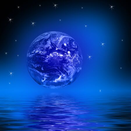 Space Illustration with earth globe and starfields reflecting in water