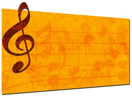 3D Grunge Music Backdrop with Treble Clef