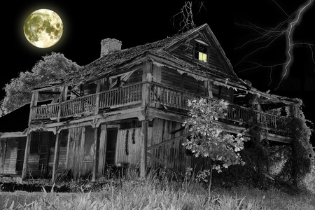 spooky house: Haunted House -  Dark Night Scene Stock Photo