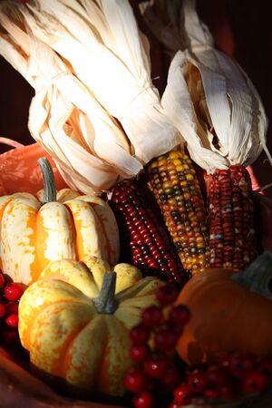 Thanksgiving Harvest Basket Stock Photo