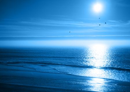Peaceful Blue Ocean Sunset