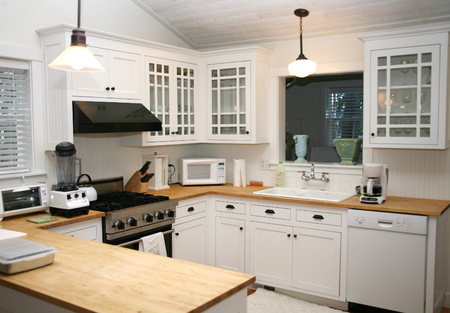 contemporary: White Country Kitchen Stock Photo