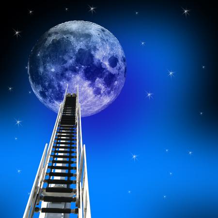 Ladder of trap omhoog naar de maan en de nachtelijke hemel met sterren