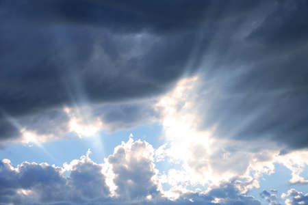 Rays of Sunshine Beaming through the Clouds Stock Photo - 1623345