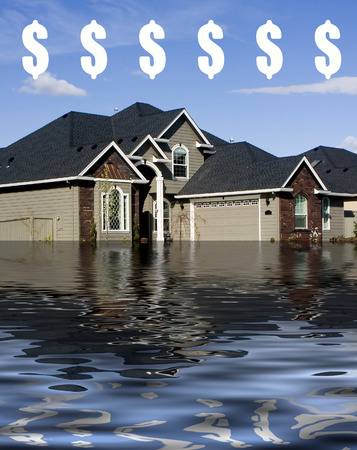 drowning: Mortgage - Drowning in Debt Illustration $ Stock Photo
