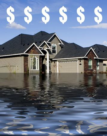 suburbia: Mortgage - Drowning in Debt Illustration $ Stock Photo