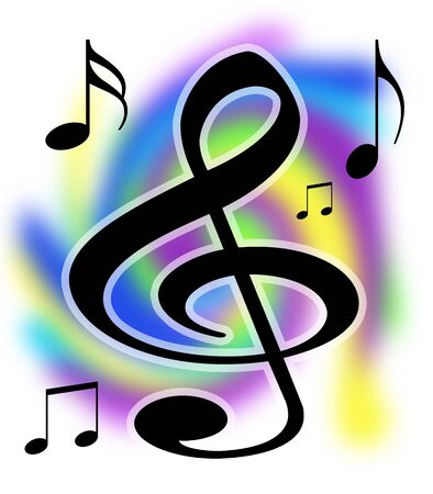 treble clef: Colorful Treble Clef and Music Notes Illustration with Working paths
