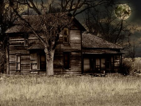 broken house: Old Run-down Haunted Farm House - Historical Site