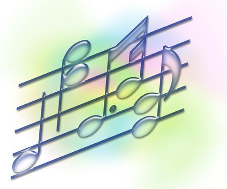 artisitc: Music Bars & Notes - Illustration on a soft pastel background Stock Photo