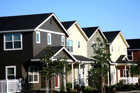 Row of Multi-colored Townhouses 版權商用圖片