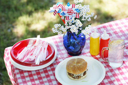 Old Fashioned Picnic with Red and White Checkered Tablecloth photo