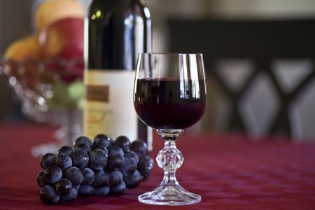 Healthy Red Wine Glass, Bottle and Grapes