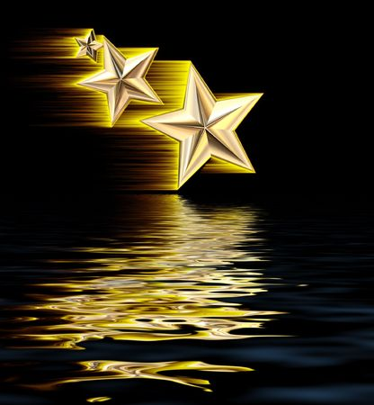 Gold 3D Shooting Stars Reflecting in WaterIllustration