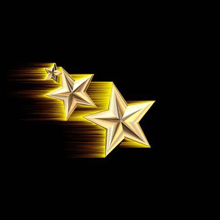 Gold 3D Shooting Stars Illustration Banco de Imagens