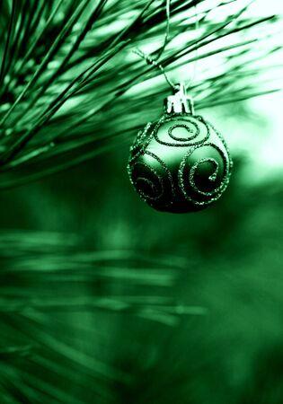 Green Christmas Bulb with Swirls of Glitter