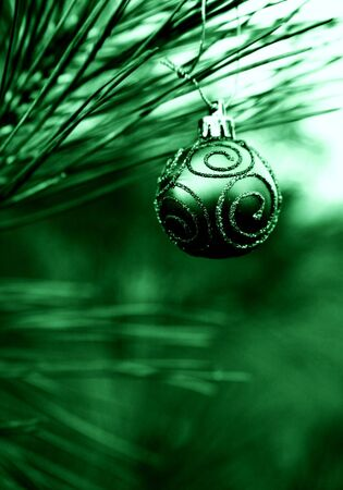 Green Christmas Bulb with Swirls of Glitter Stock Photo - 2029655