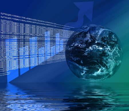 World Wide Web - Internet Illustration with Globe, html, code, and graph 3d Reflected in Water