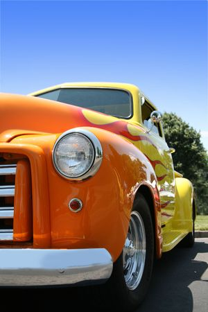 Classic Yellow Truck with Orange Flames