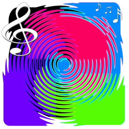 vibrations: Colorful Treble Clef and Music Notes Illustration with Abstract Spinning Record Stock Photo