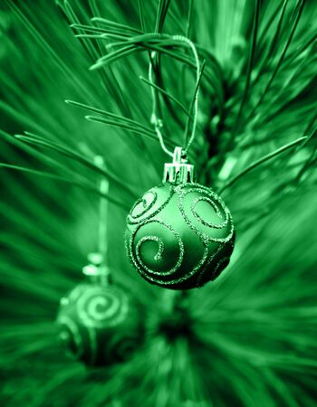 Green Christmas Bulbs with Swirls of Glitter photo