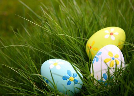 草でカラフルなイースターエッグを描いた 写真素材