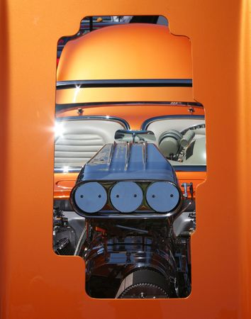 perfomance: High Perfomance Engine Framed Through Open Hood Stock Photo