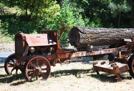 Old Rusty Antique Log Truck Stok Fotoğraf