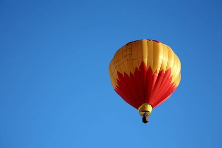 Colorful Red and Yellow Hot Air Balloon Ride Closeup