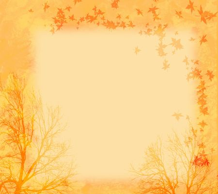 Autumn Background with Bare Trees and Falling Leaves photo