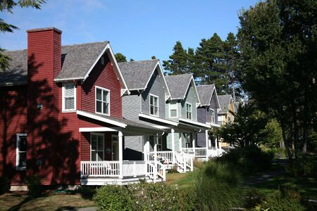 Row of Multi-Colored Houses photo