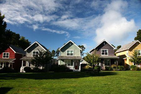 rij huizen: Rij van gekleurde Huizen