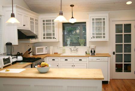 White Country Gourmet Kitchen Standard-Bild