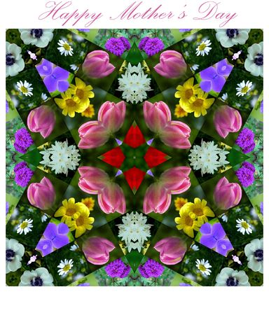 Happy Mothers Day Flower Photo Quilt One of a Kind Design Banco de Imagens