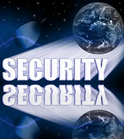 sabotage: Security 3-D Illustration with Globe, Stars, Computer Mouse, and Lightning