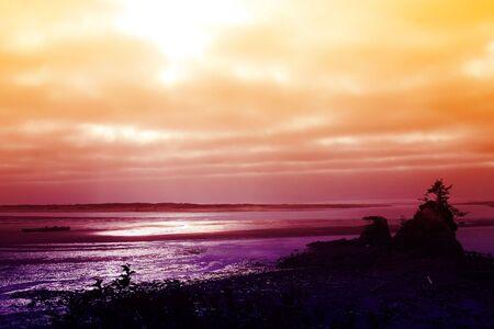 Sunset over the Pacific Coast near Lincoln City, Oregon Stock Photo