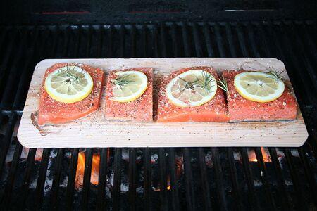Grilling Salmon on Cedar Plank on BBQ Grill