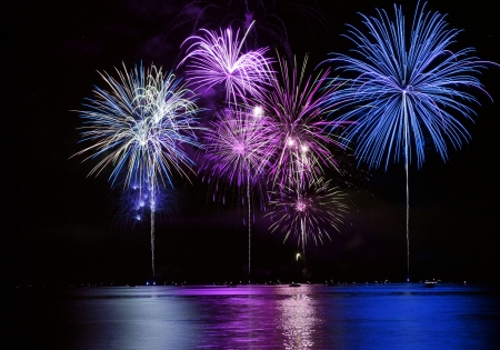 Colorful Fireworks for the Grand Finale over Lake Stock Photo - 3061612