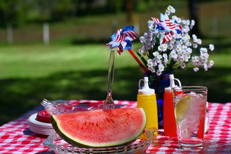 Old Fashioned Picnic with Slice of Watermelon Stock Photo