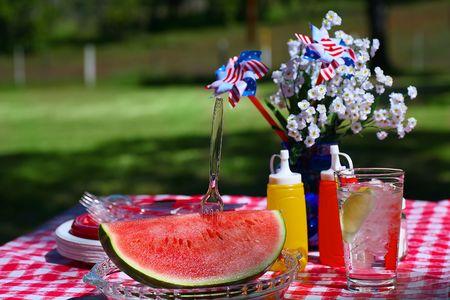 Old Fashioned Picnic with Slice of Watermelon Zdjęcie Seryjne
