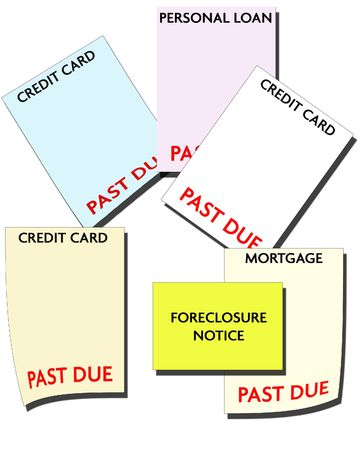 consumer: Bankruptcy - Consumer Debt - Bills Past Due Stock Photo