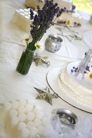 Homemade Wedding Cake with Fresh Daisies and Lavender Stock Photo - 3242282