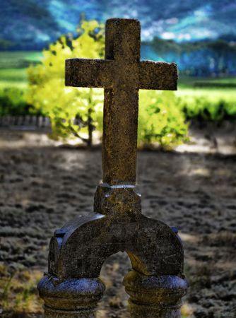 Old Cross Headstone in Cemetery Stock fotó - 3423707