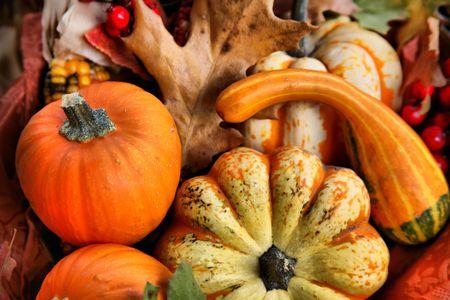 erntekorb: Thanksgiving Harvest Basket mit indischen Mais und Gourds