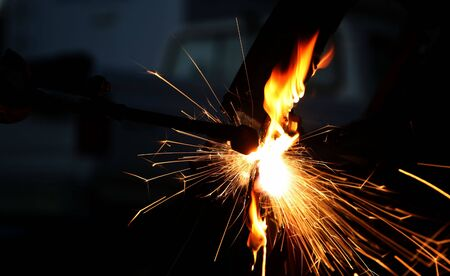 Sparks and Fire from Cutting Torch
