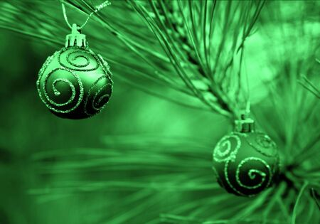 Green Duotone Christmas Bulbs with Swirls of Glitter photo