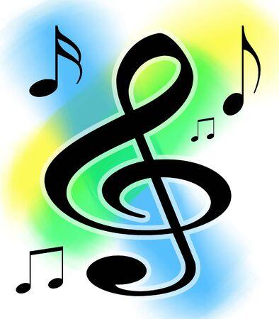 Kleurrijke hoge tonen sleutel en muziek Notes illustratie met werk paden