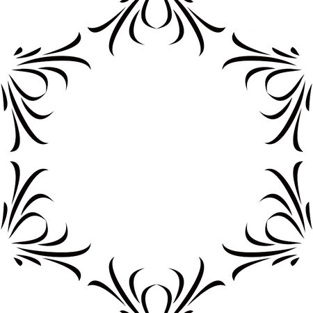 Black & White Scroll Frame Background Illustration