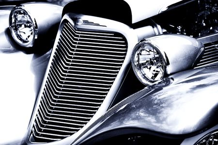 restored: Antique Car Headlight and Grill Black & White