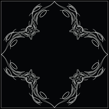 Black and White Scroll Vector Frame
