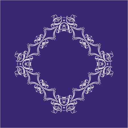 White Scroll Vector Frame on Purple Background Illustration